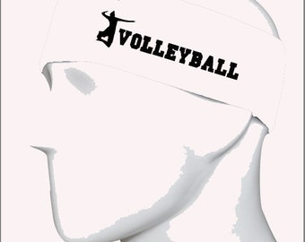 Volleyball White/Black Headband