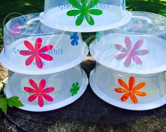 Set of 5 Cake Containers,cake carrier,cake holder,kitchen decor,housewarming gift,personalized gift,monogram gift idea,mothers day gift