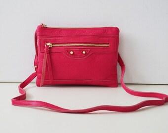 """Leather Handbag """"Nele"""" in light pink, genuine leather. small shoulder bag"""