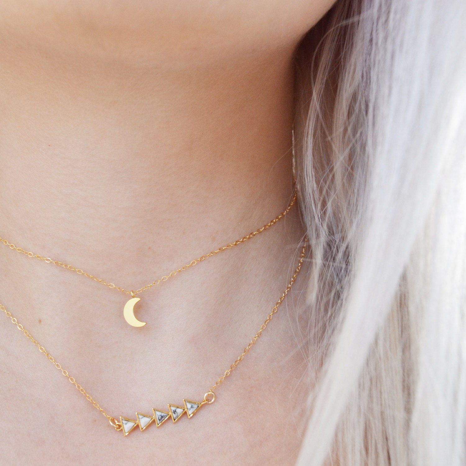 Crescent Moon + Marble Arrows CHOKER SET | 14k gold fill | Layered Necklace |