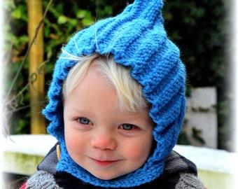 Hand knitted pixie hat 0-8 years Fall Winter Spring Easter merino alpaca wool Waldorf baby boys girls