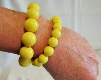 Sunny Yellow Pair Stretchy Bead Bracelets
