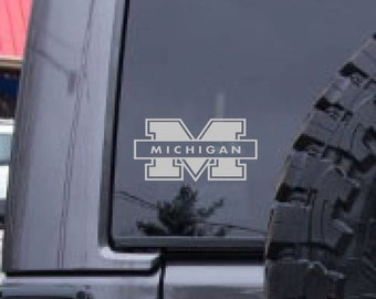 Michigan decal, FREE SHIPPING, university of Michigan, sticker decal, college decal, dorm room decal, home decor decal, football decal #263