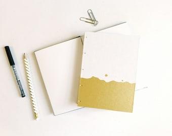Gold Splash Journal / Blank Notebook / Hand Bound Coptic Book