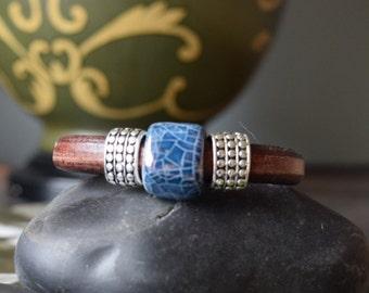 Navy Blue Beaded, Leather Bracelet, Joanna Gaines Jewelry, Leather Bracelets, leather bangle, leather bangles,