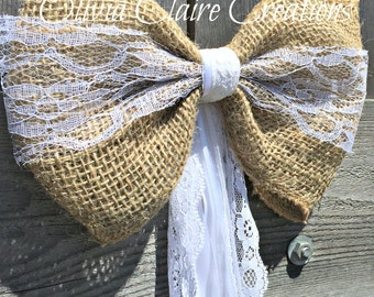 BoHo Wedding Decoration Burlap Pew Bow for Country Chic, Rustic, BoHo or Barn Wedding. Loose Weave Burlap, Natural Lace and Ribbon Tails.