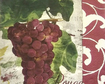 Set of 2 pcs 3-ply Grapes paper napkins for Decoupage or collectibles 33x33cm, Decopatch paper