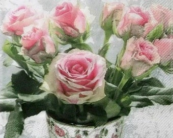 Set of 2 pcs 3-ply ''Roses'' paper napkins for Decoupage or collectibles 33x33cm, Floral napkins, Decopatch paper