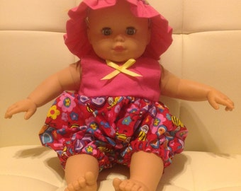 Bitty Baby or Bitty Twins romper and hat.