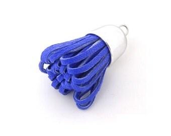 Tassels - Decorative Tassels - 6 Blue Tassels with Silver Caps - Great KeyChain Tassels - Tassels for Jewelry - Diy Purse Tassel - TD-2S08