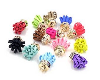 Mini Tassels - 12 Decorative Tassels, Random Color Mix - Tiny Tassels - Cute Tiny Tassels - Tassel Charms for Jewelry Making - TB-5G01