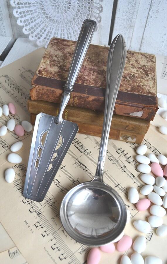 Art Deco Cake Slice : Art Deco Cake Slice & Ladle Vintage Silver Plate Serving