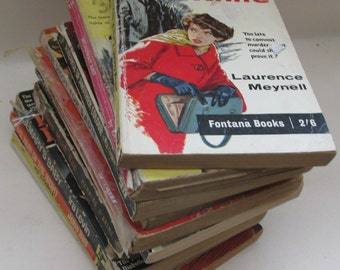 Decorative Book Stack of Vintage Pulp Fiction Books - Instant Library - 1950s/1960s Pulp Books