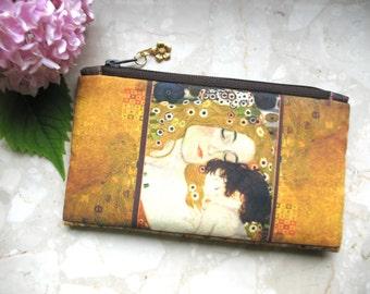 Cosmetic Bag, Klimt bag, phone bag, bridesmaid clutch, Mother&Child