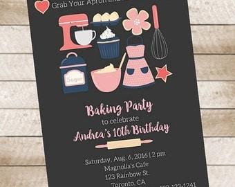 Baking Party Invitation Birthday Party Printable Cupcakes