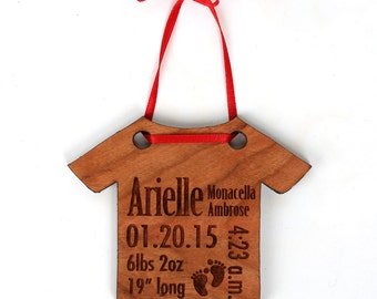 Babys first christmas ornament personalized newborn gift personalized baby christmas ornament babys first christmas ornament and gift birth stats ornament negle Image collections
