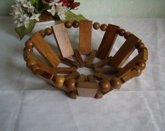 Basket bread, olive wood basket, basket fruit, basket, vintage handmade. 1980