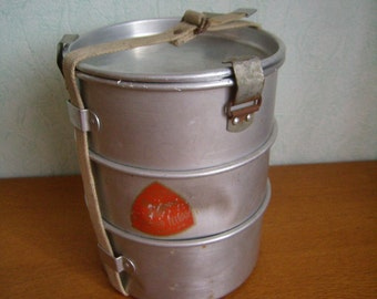 ANTIQUE aluminum lunch box, picnic, camping, hiking, collector, rare, vintage French