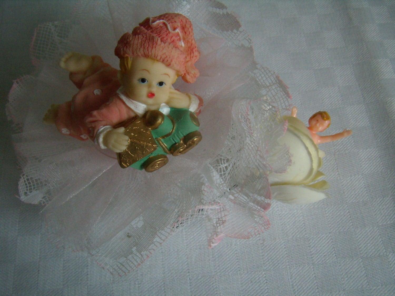 Decor cake birth Vintage pink Figurine girl collectible