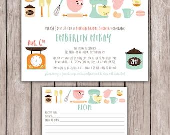 PRINTABLE- Kitchen Bridal Shower Invite- Kitchen Shower Invite- Engagement Party Invitation - Matching Recipe Card- 5x7 JPG