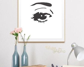 Eyes, Eye Print, Eyelash, Fashion, Eyelashes, Fashion Print, Fashion Art, Fashion Printable, Fashion Poster, Black and White, Fashion Decor
