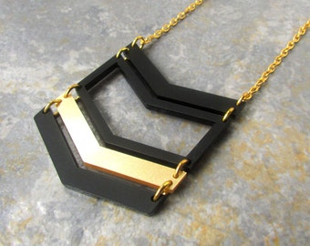 Long Gold Necklace – Gold Pendant Necklace – Gold Chevron Necklace – Gift Ideas for Women – Long Black Necklace – Acrylic Jewellery