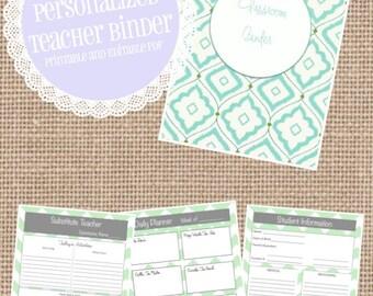 Printable and Editable Teacher Binder, 36 customizable pages!