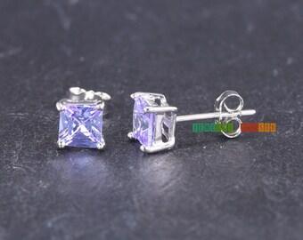 Princess Cut 5mm Lavender Alexandrite Cubic Zirconia June Birthstone Sterling Silver Stud Earrings Push Back Earring