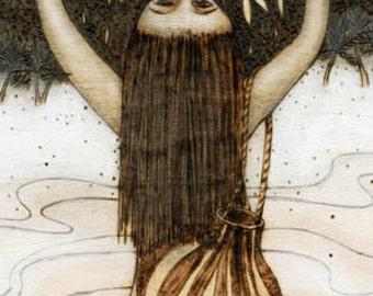 Fisherwoman, Hawaiian, sea life, beach, Art Print, Ready to Hang, Canvas, 10x20