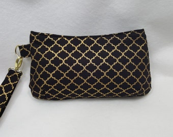 Black and Gold Wristlet Clutch. Black Clutch, Gold Clutch, Formal Wristlet,Coraline Wristlet, Bridesmaid Wristlet, Bridesmaid Clutch