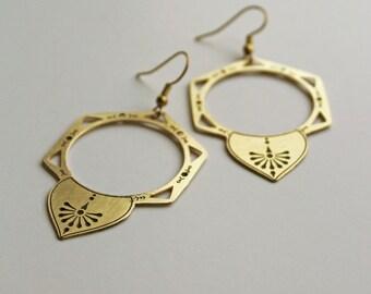 Alchemy Earrings - geometric laser etched & patina brass earrings on fish hook