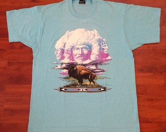 80s/90s Native Buffalo T-Shirt - Light Blue - XL - USA
