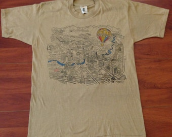 80's Reno Nevada Vintage Map T-Shirt - 50/50 - Vintage Medium