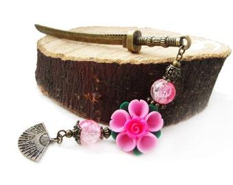 Metal hair stick - japanese festival style katana hair pin pink sakura polymer clay blossom flower and fan, hair ornament - sticks to choose