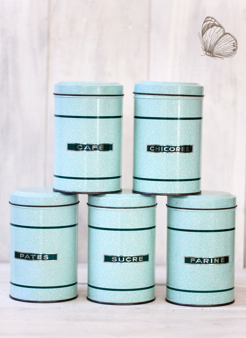 1950s French Kitchen Tin Canisters Set of 5 Turquoise