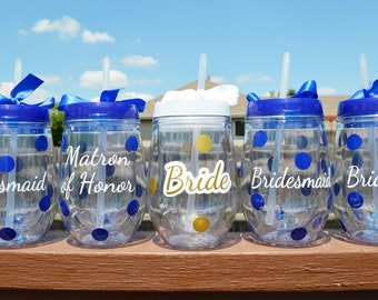 Bridal Party Cups // Wine Tumblers // Bridesmaids Wine Glasses // Maid of Honor // Bachelorette Party // CUSTOM COLORS AVAILABLE