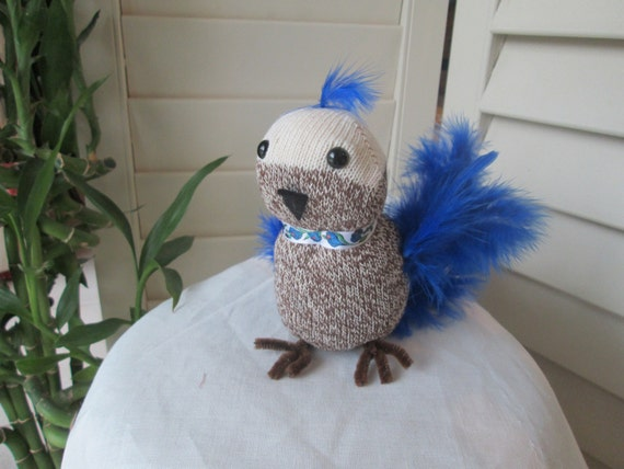 Spring Blue Jay Sock Doll - Red Heel Sock Doll - Handmade