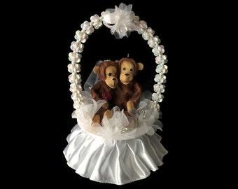 Animal Wedding Cake Topper- Monkey Wedding Couple- Bride and Groom- Mr & Mrs - Cute Wedding Cake Topper- Wedding Gift