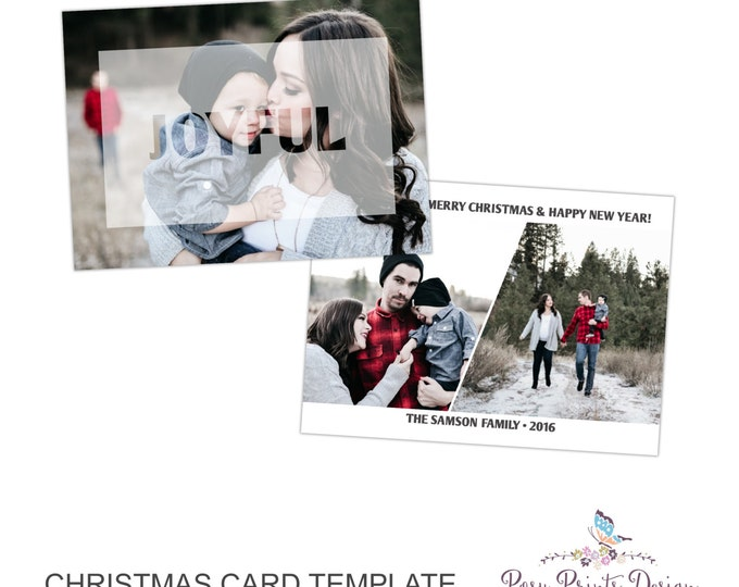 Christmas Card Photoshop Template - Joyful - 5x7 Photo Card - INSTANT DOWNLOAD or Printable - CC39