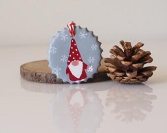 Scandinavian gnome ornament - Nordic Christmas ornament - Clay Scandinavian Christmas decoration - Holiday decoration - Scandinavian design