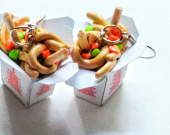 Vegetable Lo Mein Chinese Takeout Earrings, Miniature Food Jewelry, Inedible Jewelry, Chinese Food Jewelry, Kawaii Jewelry, Food Earrings
