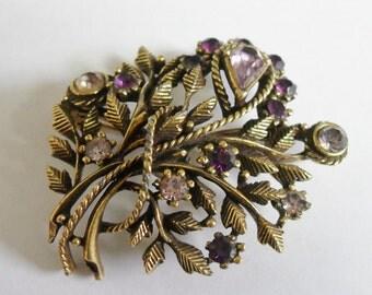 Vintage Coro Floral Foliage Purple Rhinestone Brooch