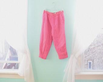 Vintage 1980s Gene Ewing Bright Pink Capri Pants Linen High Waist Wrinkle Spring Summer BIS Paris Beverly Hills Medium M Large L Size 10 12