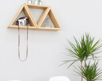 Pyramid Triangle Wall Shelves in Solid Oak - Group of Three Triangles