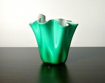 Glass freeform vase. Aqua, turquoise green, white lining. Handkerchief. Cased glass vase. Biomorphic, undulating, wavy shape.