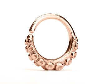 Octopus Tentacle Septum Ring Nose Ring Body Jewelry Rose Gold plated Sterling Silver Bohemian Fashion Indian Style 14g 16g - SE035R RGP T2