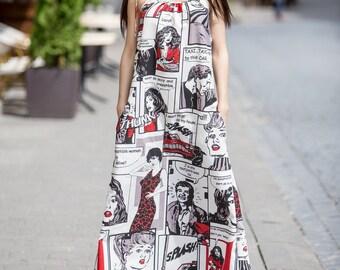 Comics print dress // Long linen dress // Fashion dress //  Adjustable Straps dress // Vintage dress