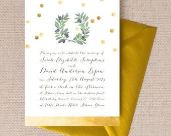 Olive Wreath Gold and Green Wedding Invitation & RSVP with envelopes