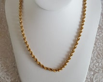 """Napier Twisted Spiral Design 23.5"""" Necklace Signed Lovely Gold Tone Circa 1980s"""