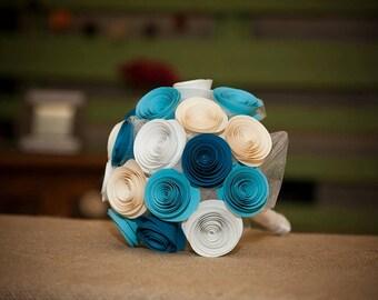 Bridesmaid Bouquet - Paper Flower Bouquet - Bridal Bouquet - Bridesmaid Flowers - Turquoise Bouquet - Paper Flower Bridal Bouquet